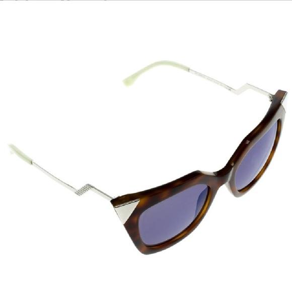 3ef8fd720cd Fendi Tortoise Cat Eye Sunglasses Crystal New